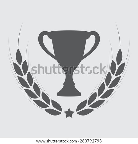 Trophy cup with laurel wreath. Award icon or sign. Vector illustration.  - stock vector