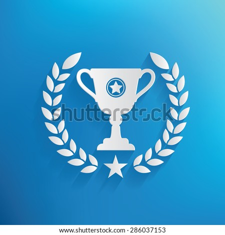 Trophy design on blue background,clean vector - stock vector