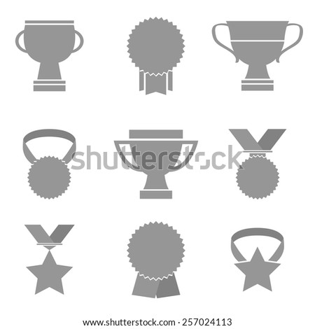 Trophy icons set. - stock vector