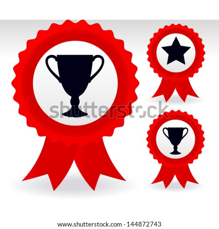 Trophy, Star Ribbons - Reward - Achievement - Winner pin button ~ Badges with ribbon - stock vector