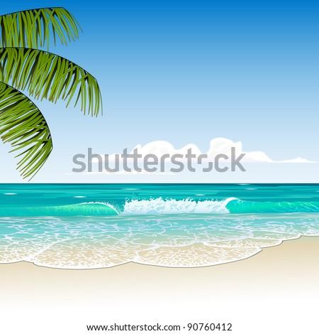 tropic beach - stock vector