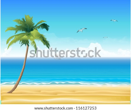 Tropic beach with palm trees - stock vector
