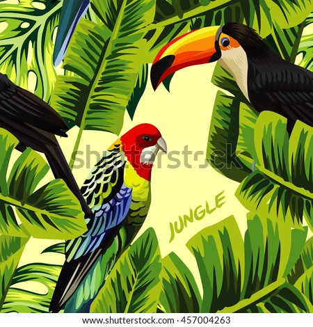 Tropic bird toucan and multicolor parrot on the yellow background of palm banana leaf with slogan jungle. Print summer floral plant. Nature animals wallpaper. Seamless vector pattern - stock vector