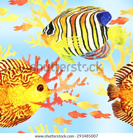Tropic fishes seamless pattern. Seamless pattern with bright tropic watercolor fish. Vector illustration. - stock vector