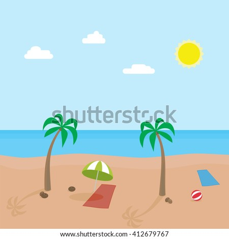 Tropic scene of sunny beach with different objects. Vector cartoon illustration. Holiday destination. Summer vacation. Sunny beach. Tropic holidays. Island coast. Beach with ocean. - stock vector