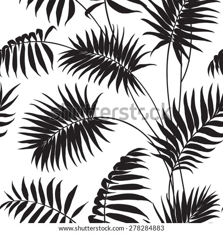 Tropical background. Palm trees and hibiscus. Vector illustration. - stock vector