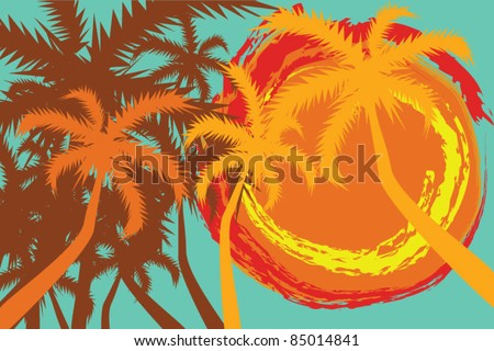 Tropical background with palms and sun - stock vector