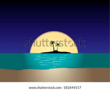 Tropical Beach at Night with Full Moon - stock vector