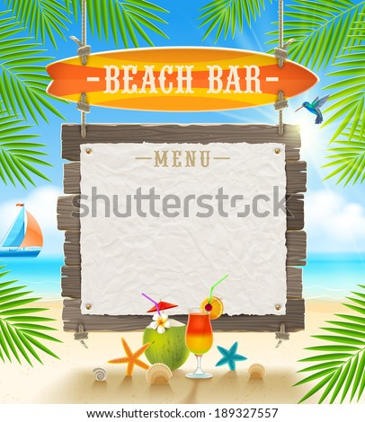 Tropical beach bar  - signboard surfboard and paper banner for menu - summer holidays vector design - stock vector