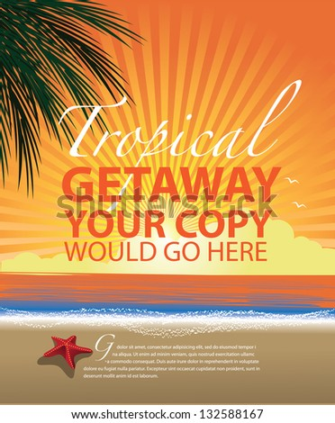 Tropical Beach Promotional Background. EPS 8 vector, grouped for easy editing/ No open shapes or paths. - stock vector