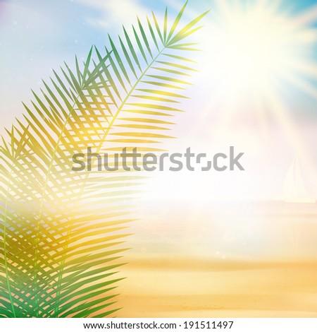 Tropical beach summer template. EPS10 - stock vector