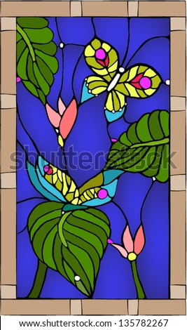 Tropical butterflies / Stained glass window - stock vector