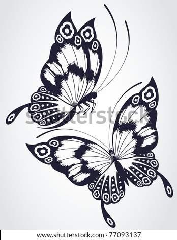 Tropical butterfly on a white background. Vector - stock vector