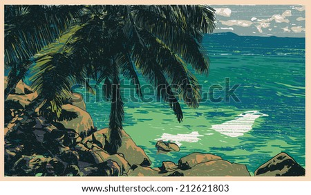 tropical coast with silhouette palm and oceanic view. vector illustration. - stock vector