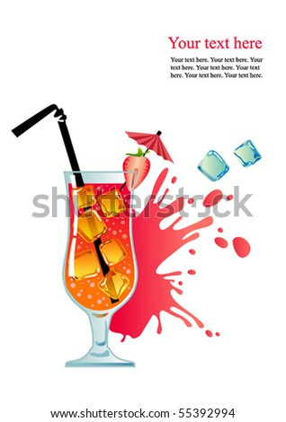 Tropical cocktail with strawberry and ice. - stock vector