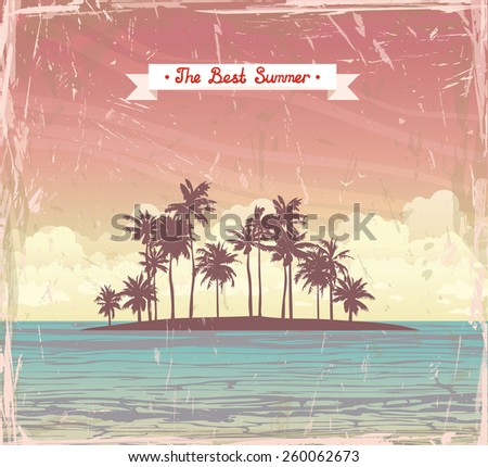 Tropical coconut island in the sea on a sunset cloudy sky. Vector grange holiday card. - stock vector