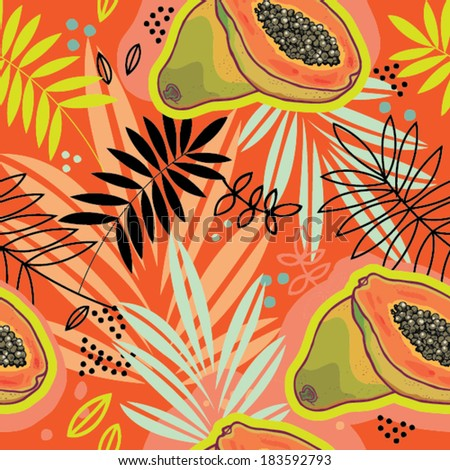 Tropical colorful seamless vector pattern with papaya. - stock vector