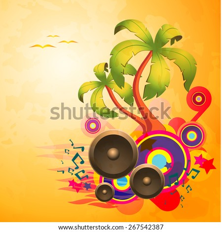 Tropical disco dance textured background with music and fantasy design elements. EPS10 vector. - stock vector