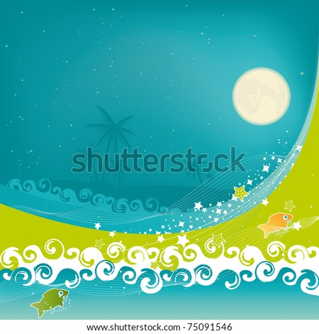 Tropical Dream. A tropical beach at night under starry sky and moonlight. - stock vector