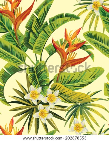 Tropical exotic plumeria flowers and plants with green leaves of palm on a yellow background. Seamless pattern. fashion vintage summer wallpaper - stock vector