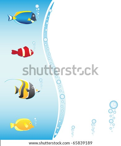 Tropical fish frame, vector illstration - stock vector