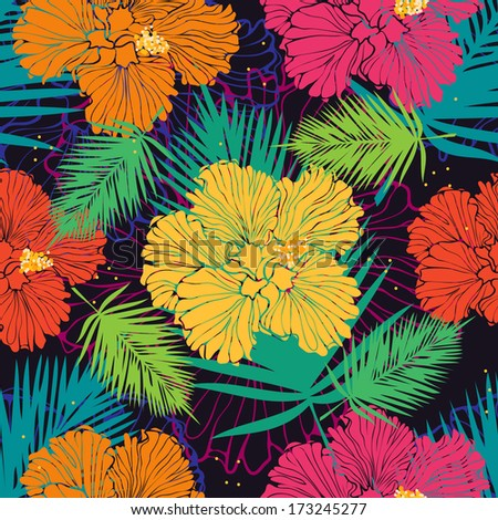 tropical floral background with hibiscus - stock vector