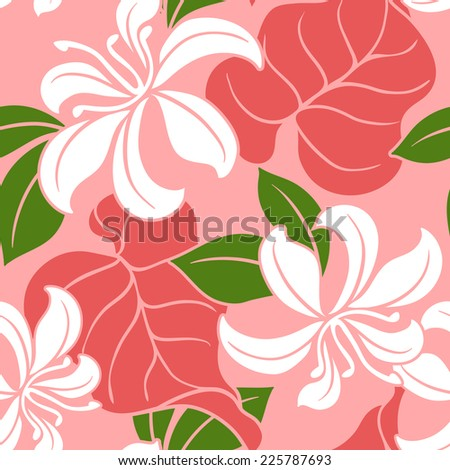 Tropical floral pattern in repeat. Vector file contains full motifs. - stock vector