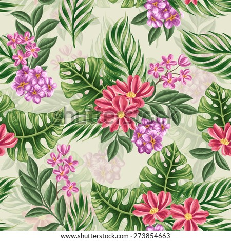 Tropical floral seamless pattern with in watercolor style - stock vector