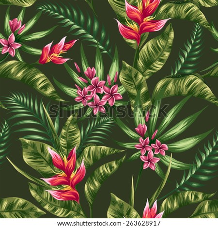 Tropical floral seamless pattern with plumeria and heliconia flowers in watercolor style - stock vector