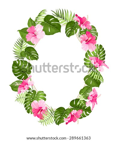 Tropical flower frame for your card design with clear space for text. Vector illustration. - stock vector