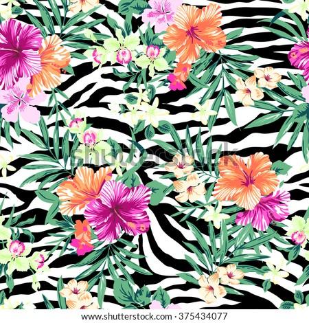 tropical flower print over zebra background ~ seamless pattern - stock vector