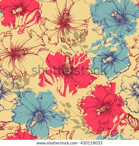 Tropical flowers seamless pattern. Hibiscus background - stock vector