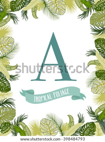 Tropical foliage frame template - stock vector