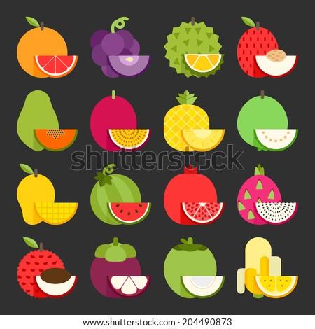 Tropical fruit icon set, vector - stock vector