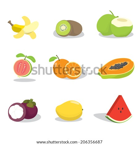 Tropical fruits - stock vector