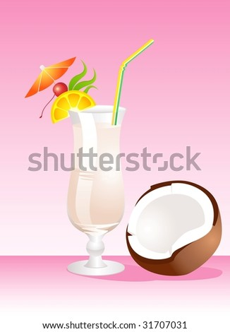 Tropical Glass of Martini - Isolated on a pink Background - stock vector