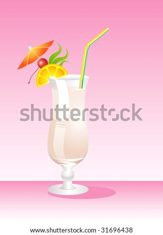 Tropical Glass of Martini - Isolated on Background - stock vector