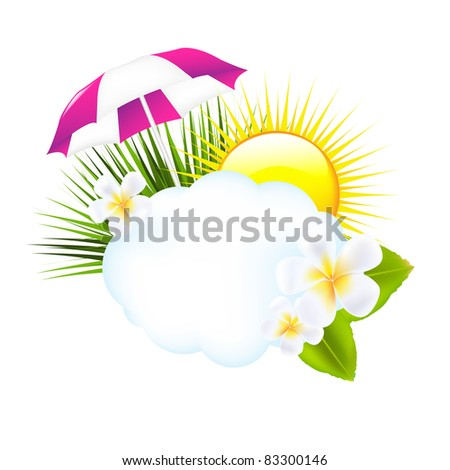 Tropical Illustration, Isolated On White Background, Vector Illustration - stock vector