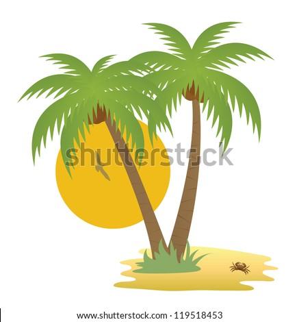 Tropical island - stock vector