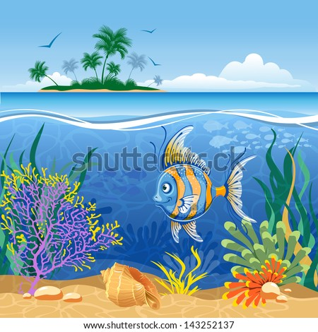 Tropical island and underwater landscape with exotic fish - stock vector