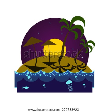 Tropical island beach at night with palms, umbrellas, shadows and glowing plankton under the moonlight - stock vector