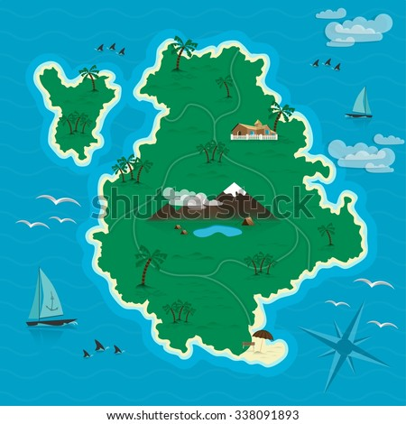 Tropical island in the blue sea. Headline Summer.  Vector illustration EPS 10 - stock vector