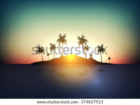 Tropical Island  - Vector Illustration - stock vector