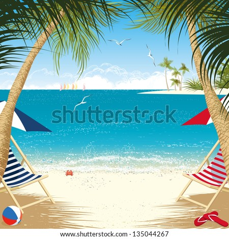 Tropical island with deck chairs under palm trees - stock vector