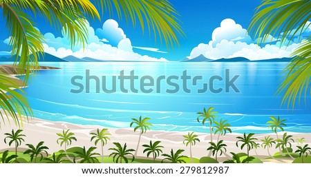 Tropical island with palm trees. Vector illustration - stock vector