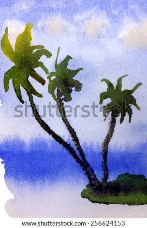 Tropical island with palm trees. Vector watercolor background - stock vector