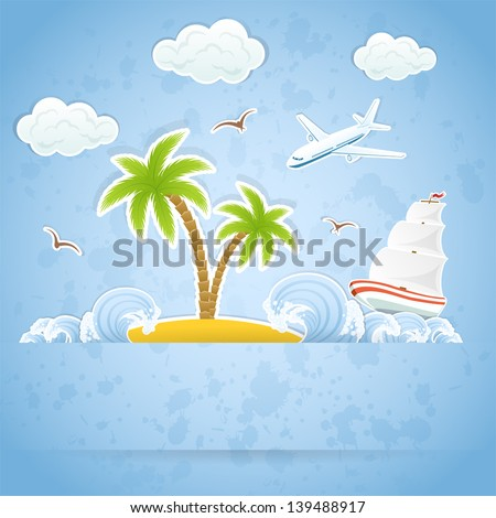 Tropical Island with palms and waves, flying airplane and ship, illustration. - stock vector