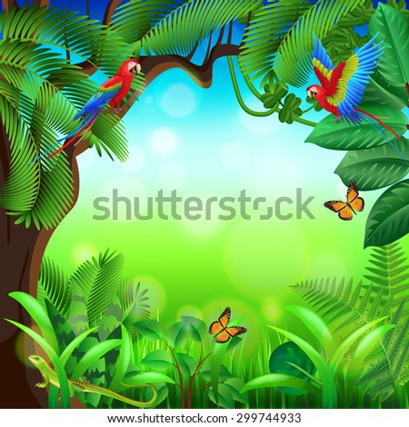 Tropical jungle with animals photo realistic vector background - stock vector