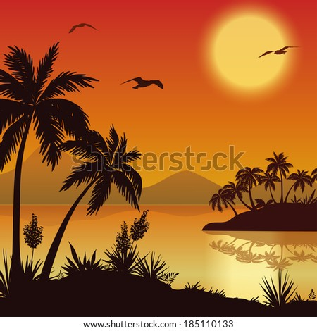 Tropical landscape, eps 10 - stock vector