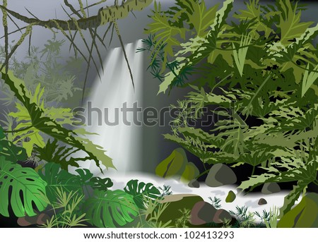 tropical landscape overlooking falls (tropical plants a vector drawing) - stock vector
